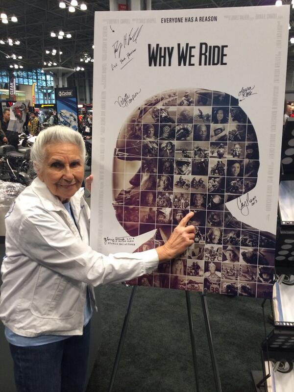 Gloria Struck Signing the Why We Ride Movie Poster